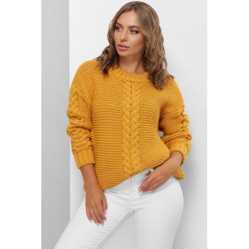 Гарний светр жіночий гірчичного кольору з косами