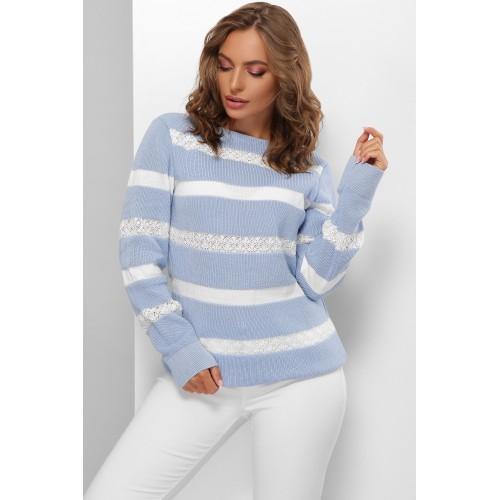 Красивый свитер женский с кружевными полосами голубой