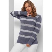 Гарний светр жіночий з мереживними смугами джинсовий