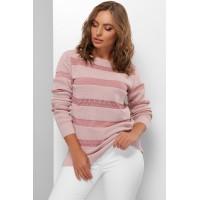 Гарний светр жіночий з мереживними смугами пудровий
