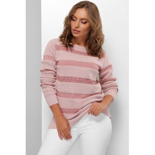 Красивый свитер женский с кружевными полосами пудровый