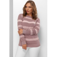 Гарний светр жіночий з мереживними смугами фрезовий