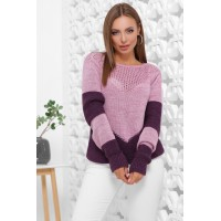 Нарядний светр жіночий в'язаний двоколірний бузок-фіолет