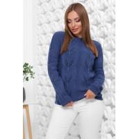 В'язаний жіночий светр прямого силуету синього кольору