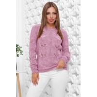 В'язаний жіночий светр прямого силуету бузкового кольору