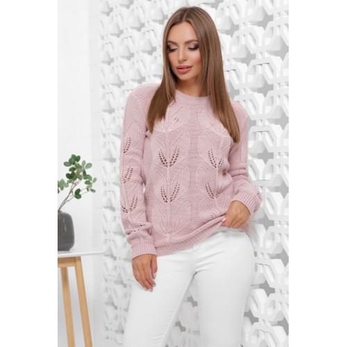 В'язаний жіночий светр прямого силуету пудрового кольору