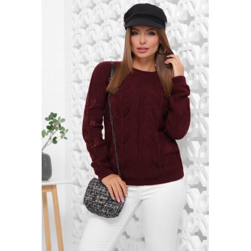 В'язаний жіночий светр прямого силуету кольору марсала