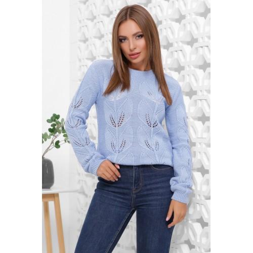 В'язаний жіночий светр прямого силуету блакитного кольору