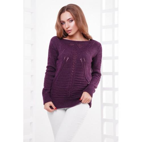 Нарядный женский свитер с вырезом лодочка фиолетовый
