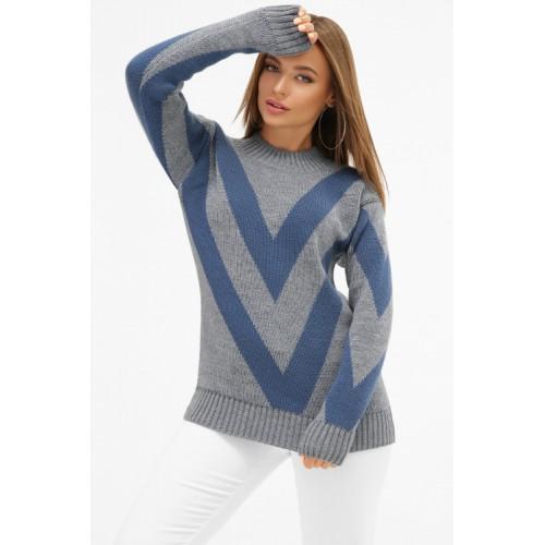 Светр жіночий модний теплий джинсового кольору  з синіми смужками