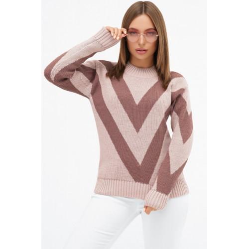 Светр жіночий модний теплий пудрового кольору  зі смужками