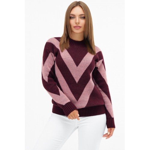 Светр жіночий модний теплий кольору марсала з рожевими смужками