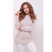 Теплий прямий светр крою реглан кольору пудра меланж