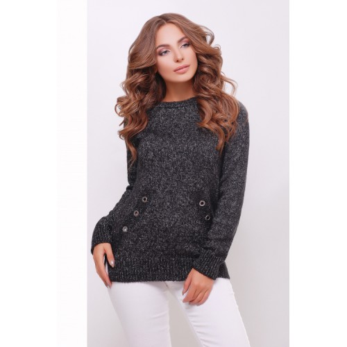 Теплий прямий светр крою реглан кольору чорний меланж