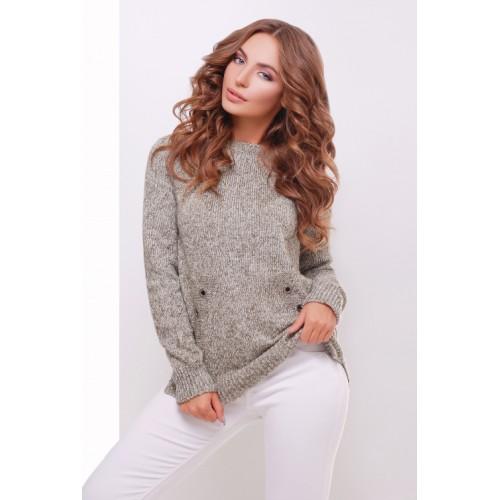Теплий прямий светр крою реглан кольору меланж хакі