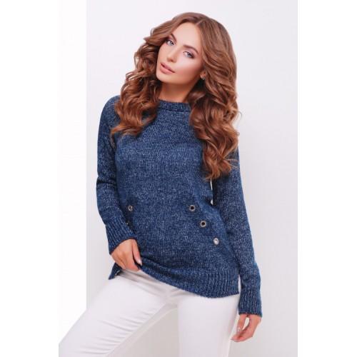 Теплий прямий светр крою реглан кольору меланж сине-сірий