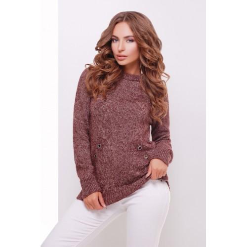Теплий прямий светр крою реглан кольору бордо меланж