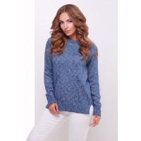 Теплий прямий светр крою реглан кольору синій меланж