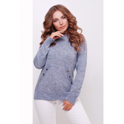 Теплий прямий светр крою реглан кольору меланж сталь
