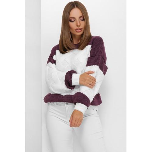 В'язаний светр зі спущеною лінією плеча білий з фіолетом
