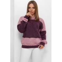В'язаний светр зі спущеною лінією плеча бузковий