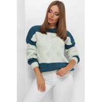 В'язаний светр зі спущеною лінією плеча мятний