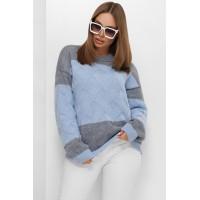 В'язаний светр зі спущеною лінією плеча блакитний