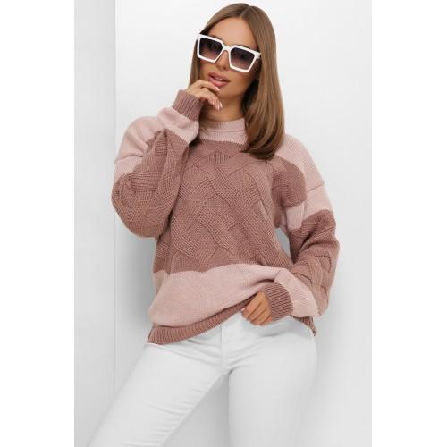 В'язаний светр зі спущеною лінією плеча кольору фрез