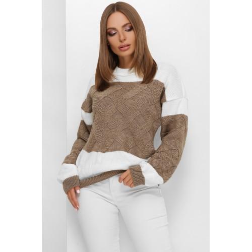 В'язаний светр зі спущеною лінією плеча кавовий