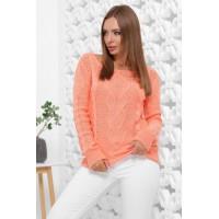 В'язаний жіночий светр прямого силуету з вирізом лодочка персиковий