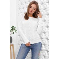 В'язаний жіночий светр прямого силуету з вирізом лодочка білий