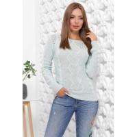 В'язаний жіночий светр прямого силуету з вирізом лодочка м`ятний