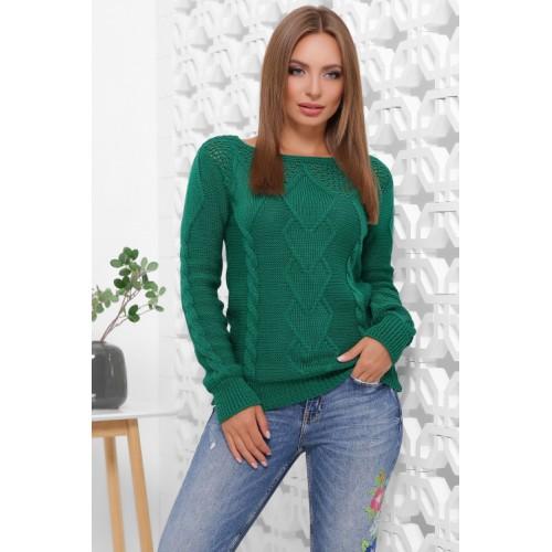 В'язаний жіночий светр прямого силуету з вирізом лодочка смарагдовий