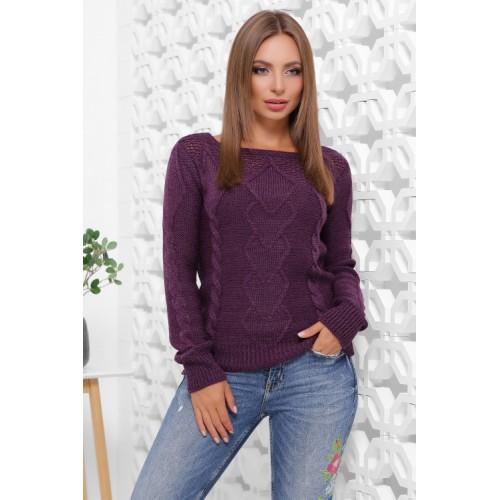 Вязаный женский свитер прямого силуэта с вырезом лодочка фиолетовый
