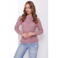 В'язаний жіночий светр з ажурними елементами на плечах фрезовий