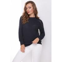 В'язаний жіночий светр з ажурними елементами на плечах темно-синий