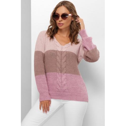 Жіночий в'язаний светр теплий з трикутним вирізом осінь 2020