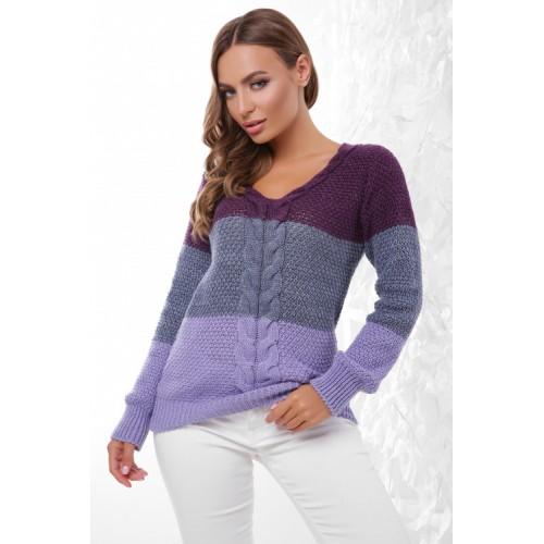 Женский вязаный свитер с треугольным вырезом осень 2020 фиалковый