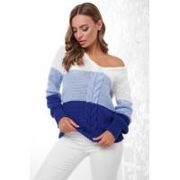 Трехцветный женский свитер с V-образным вырезом