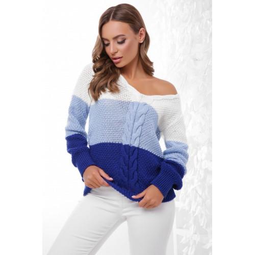 Триколірний жіночий светр з V-подібним вирізом