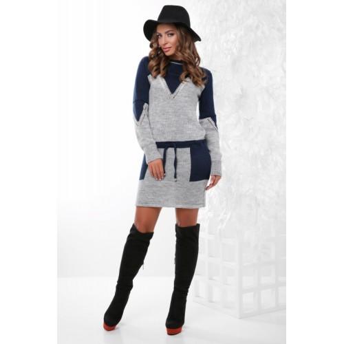Тепле плаття жіноче вовняне Платье туніка синє-сіре