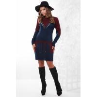 Тепле плаття жіноче вовняне Платье туніка темно-синє