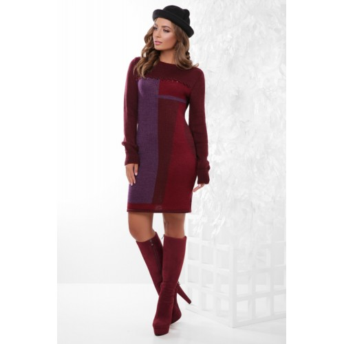 Гарне плаття тепле в'язане бордо