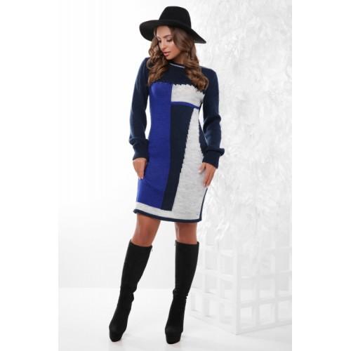 Гарне плаття тепле в'язане синє