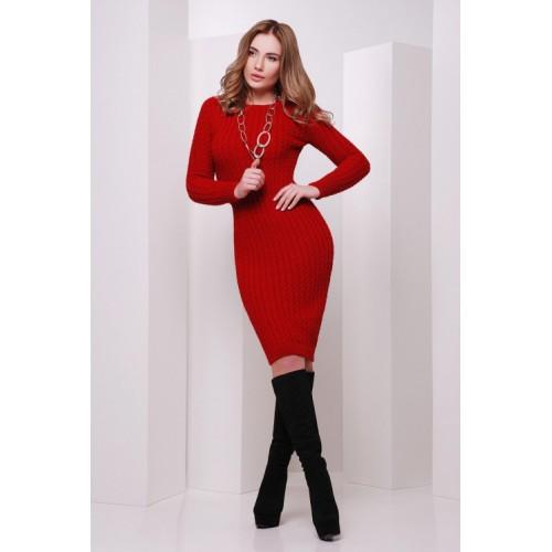 Сукня жіноча осінь зима в'язана червона