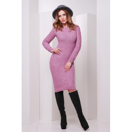 Сукня жіноча осінь зима в'язана бузкова