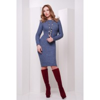 Сукня жіноча осінь зима в'язана кольору джинс