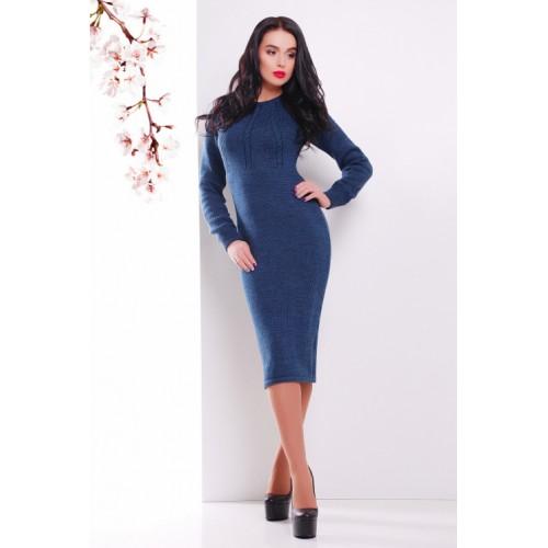 Тепле в'язане плаття міді кольору джинс