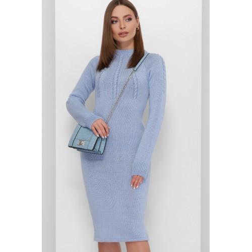 Тепле в'язане плаття міді блакитне