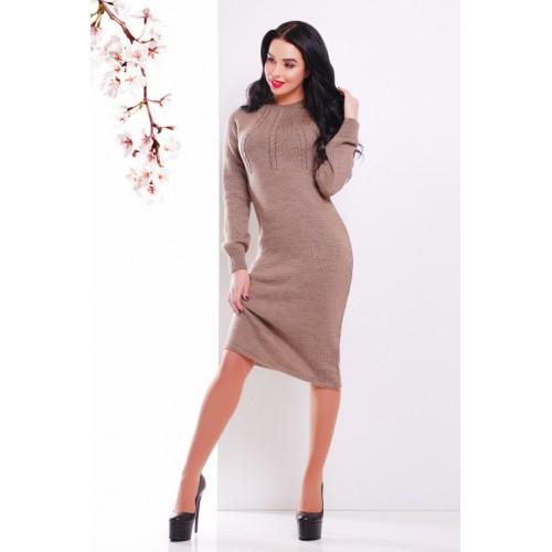 В'язана сукня зимова кольору кави